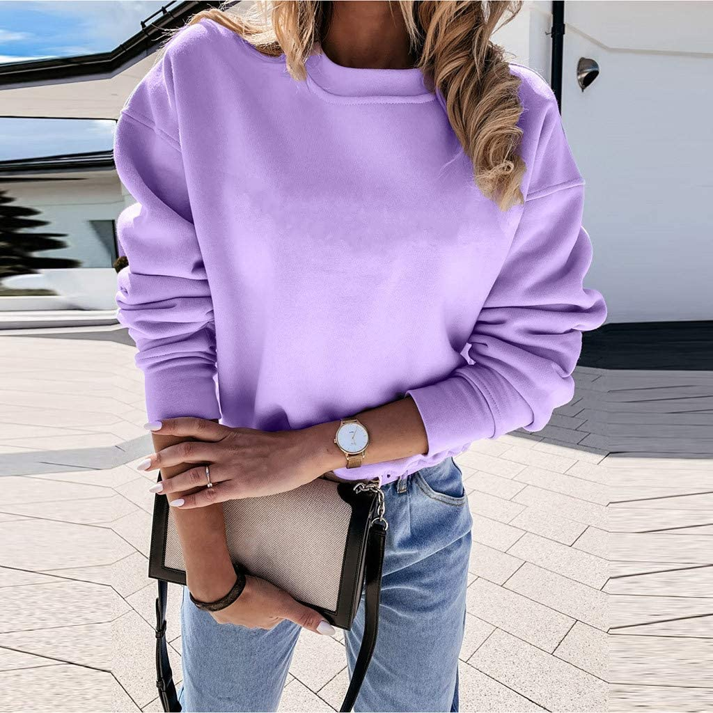 F/_topbu Sweatshirts for Women Long Sleeve Round-Neck Top Shirt Solid Lightweight Pullover Casual Loose Top Blouse