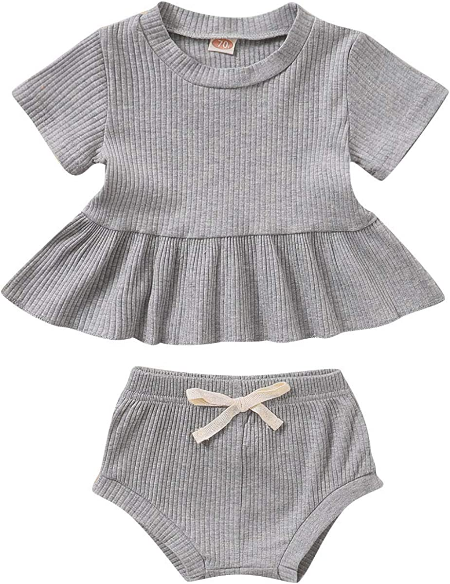 Baby Girls Shorts Sets Short Sleeve Shirt Tops + Solid Shorts 2PCS Infant Girls Outfits for Summer