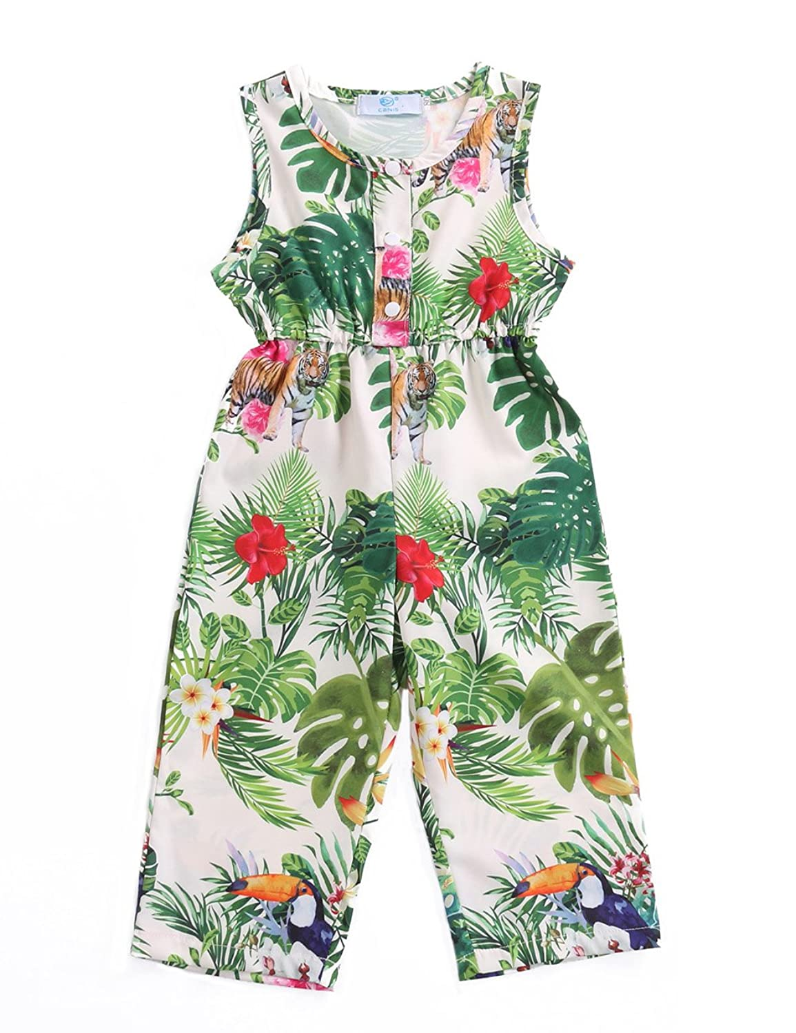 75e25263d5e3 Canis Kids Little Girls One-Piece Trees Floral and Animals Print Jumpsuit  Romper Overalls