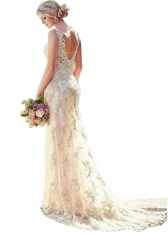 Mingxuerong Frauen Tiefes V-Ausschnitt Brautkleider Satin Futter Spitze Meerjungfrau Hochzeitskleid