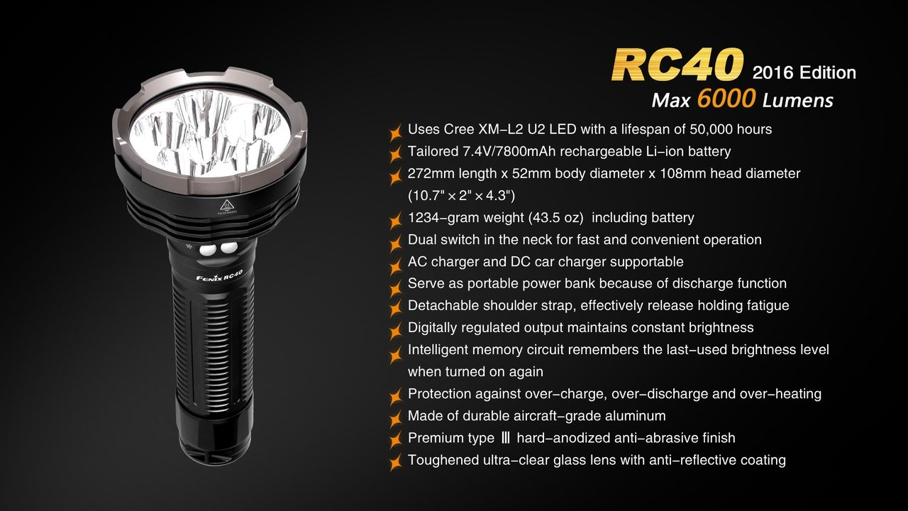 Fenix RC40 2016 Rechargeable LED Flashlight 6000 Lumens with 7800mAh rechargeable battery, Home/Car charger and 30 Lumen AAA Keychain Light by Fenix (Image #8)