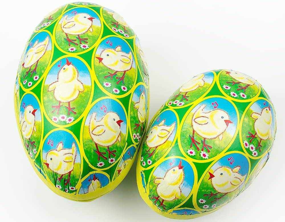 2 Gisela Graham Chick Print Nesting Paper Mache Easter Egg Gift Boxes 15cm /& 12cm