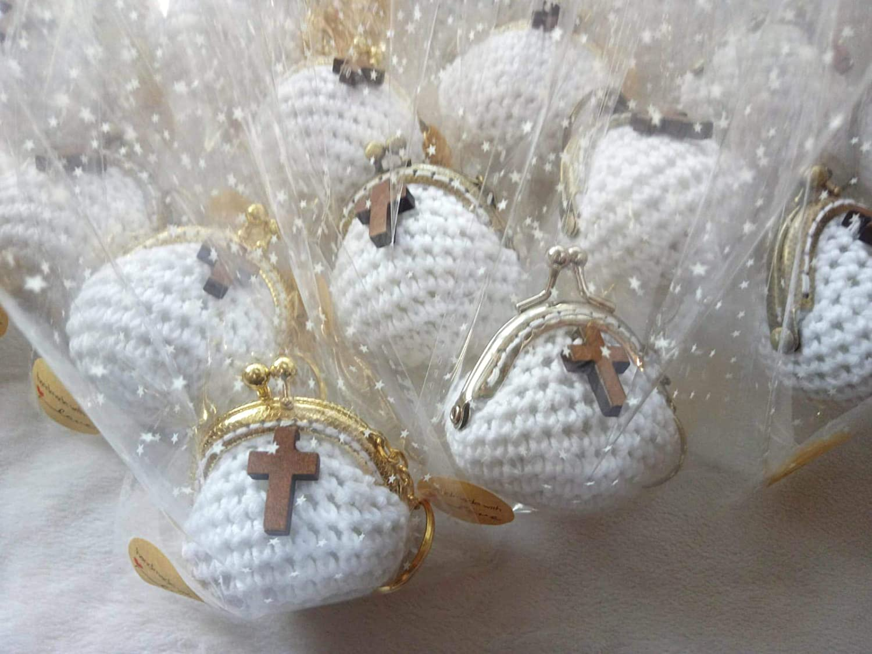 Lote de 5 Elegantes Monederos Llaveros Hechos a Crochet. Carteras y Neceseres.Complementos. Regalos Originales. Detalles de Bodas, Comuniones, Bautizos, Cumpleaños.