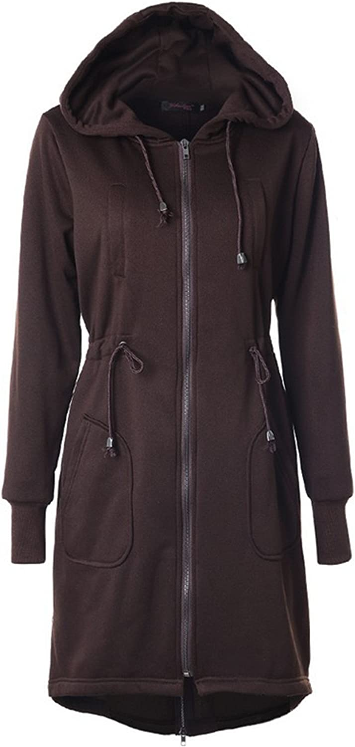 Allonly Womens Casual Cotton Solid Color Zip-up Hoodie Long Sleeves Hood Jacket Long Coat