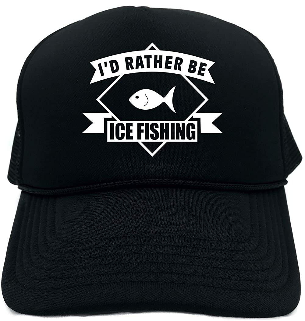 Amazon.com  Signature Depot Funny Trucker Hat (Id Rather be Ice Fishing  (banner) Unisex Adult Foam Cap  Clothing 256e5577c4fd