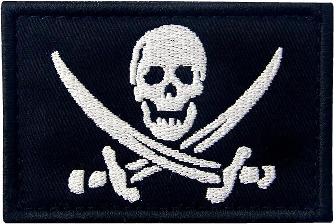 Bandera Pirata Táctico Militar Emblema Moral Aplique Broche Bordado de Gancho y Parche de Gancho y bucle de cierre, Blanco: Amazon.es: Hogar
