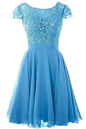 Beonddress Damen Spitze und Chiffon Brautjunfer Kleid Rüschen Kurz  Abschlussball AbendKleid(Blau,32)