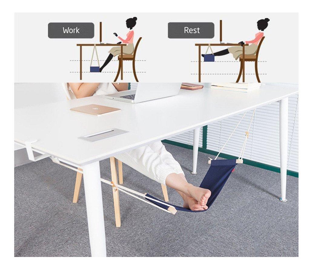 Mini amaca per piedi regolabile, poggiapiedi portatile per studio, relax, ufficio, antistress, colore blu Trade Pro