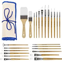 CONDA Paint Brushes Set of 24 Different Shapes Ergonomic Professional Wood Handles with Organizing Case for Acrylic Oil…