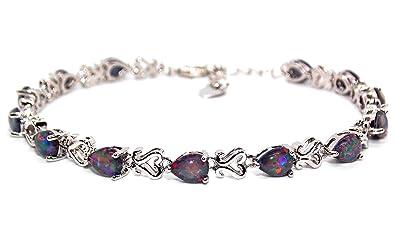 925 Silver Fire Opal Pear Cut 7.63ct Tennis Bracelet