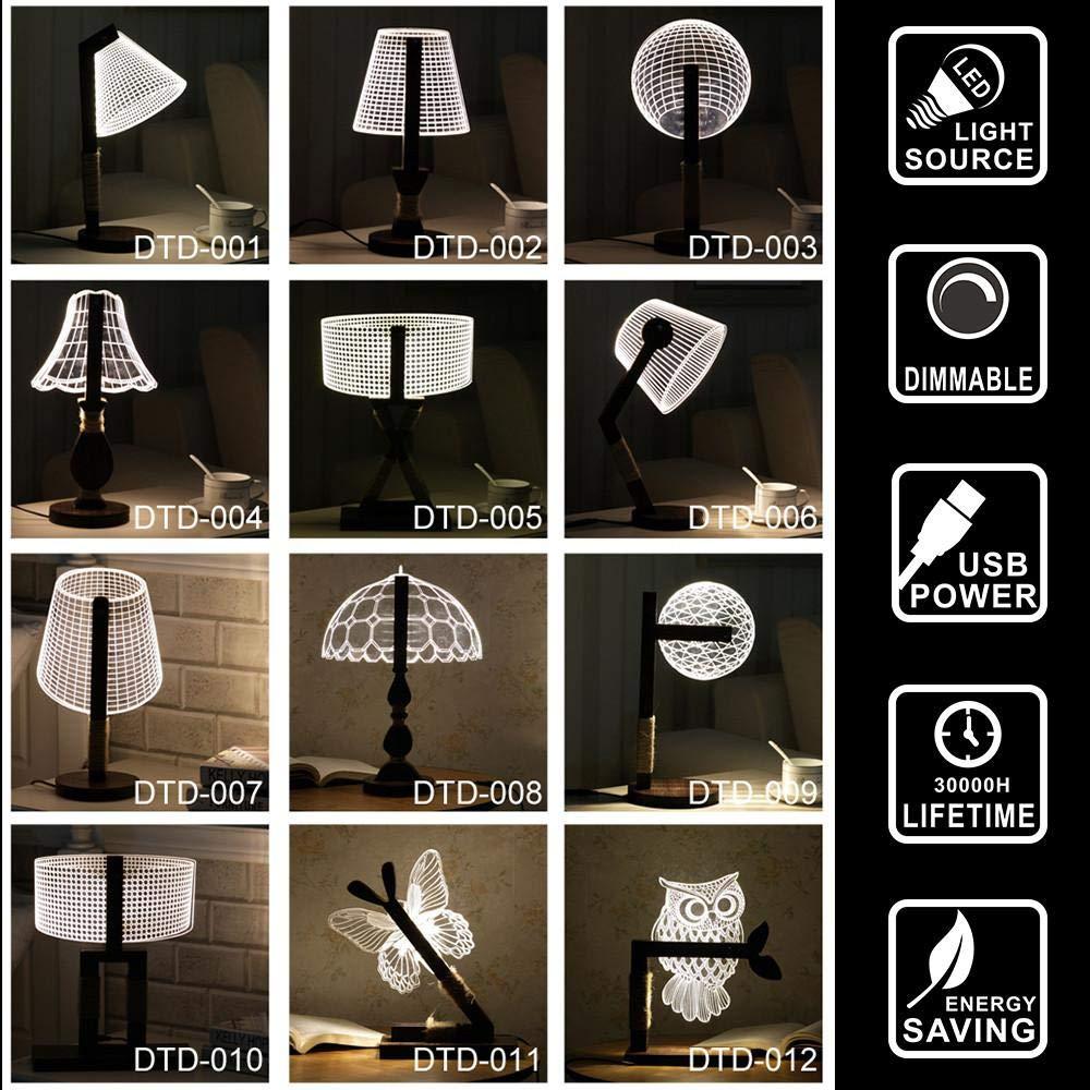 Holinox 3D wood home decor office gadget christmas gift desk Lamp (MT301)