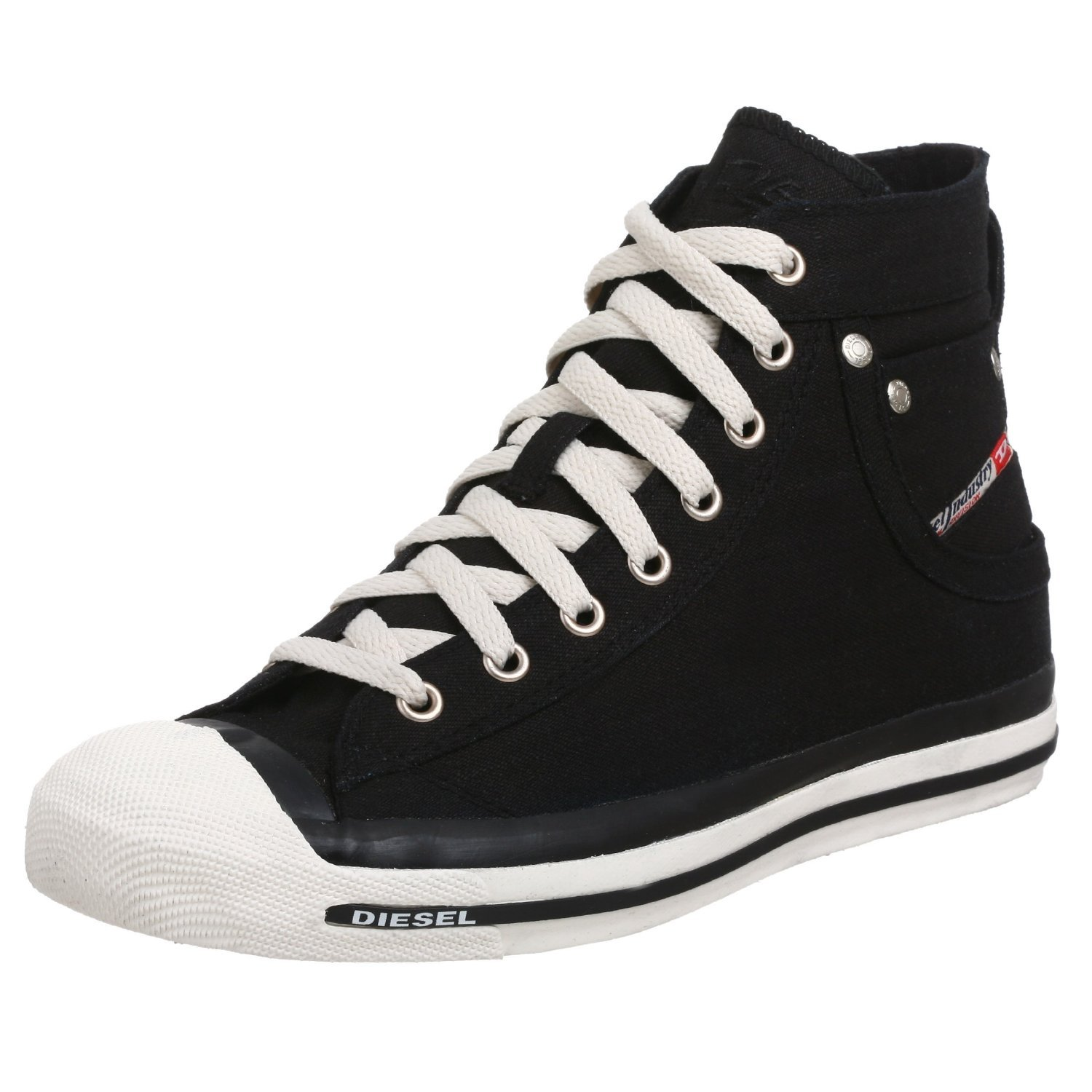2fa23aa0d52 DIESEL Exposure Hi Black White Mens Canvas New Trainers Shoes Boots   Amazon.co.uk  Shoes   Bags