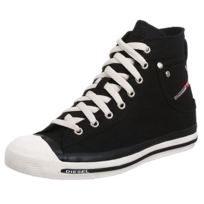 Diesel Exposure Hi Black White Mens Canvas New Trainers Shoes Boots:  Amazon.co.uk: Shoes & Bags