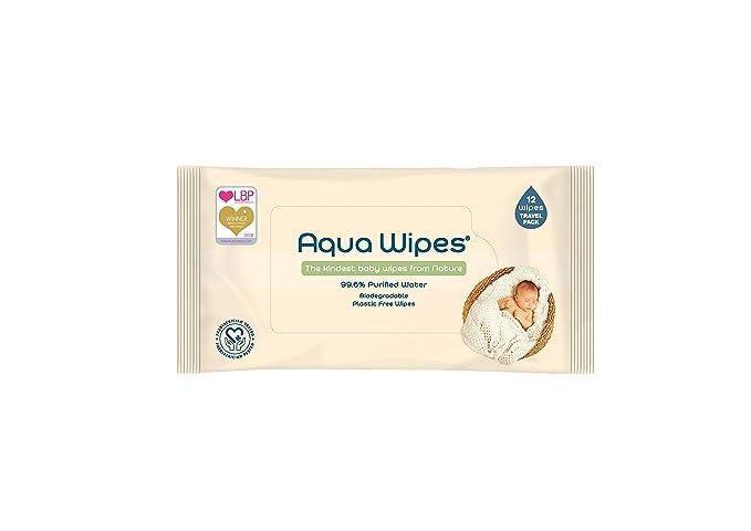 Toallitas húmedas Aqua Wipes, (12 x 12 toallitas de viaje (144 toallitas)), AQW12F, Veganas, Biodegradables, sin plástico, 99.6% de Agua Purificada, ...