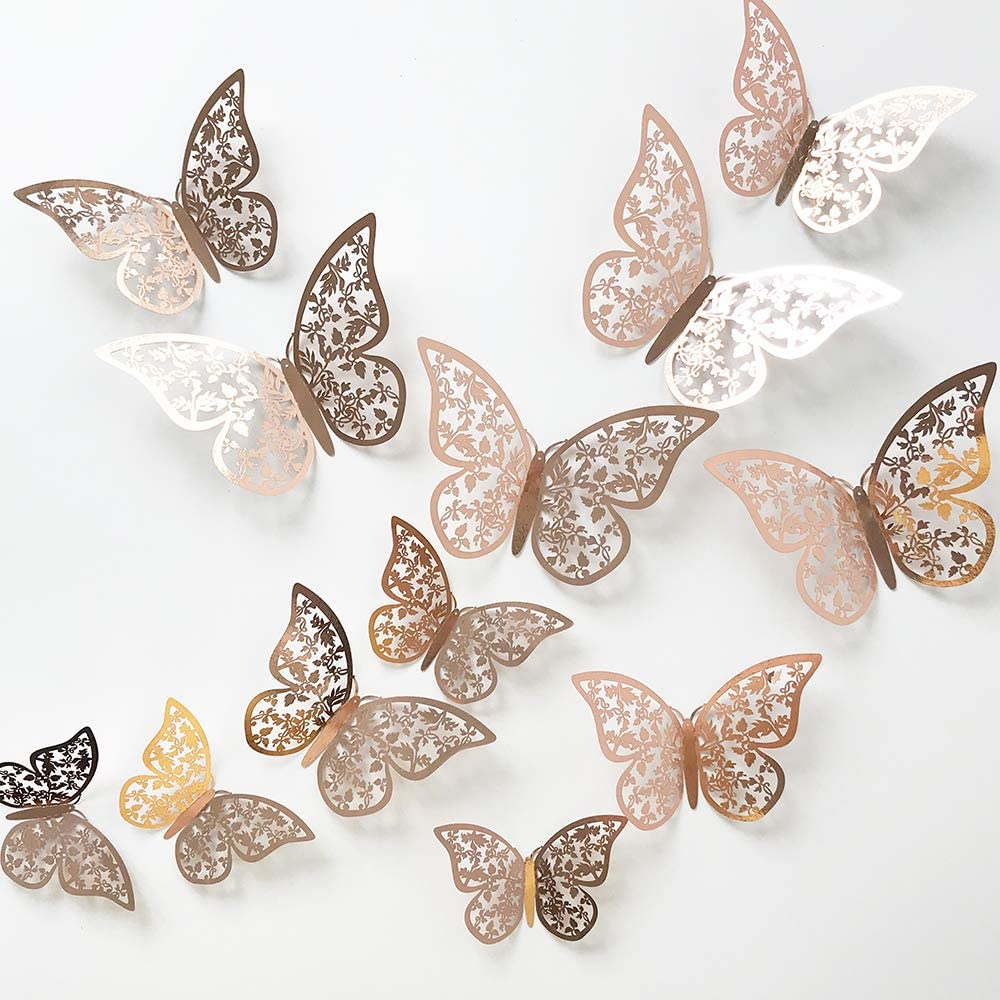 24Pcs Rose Gold Butterfly Wall Sticker Decal 3D Metallic Art Butterfly Mural Decoration DIY Flying Stickers for Kids Bedroom Home Party Nursery Classroom Offices Décor (Leaves Rose Gold 1)