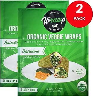 product image for Raw Organic Spirulina Veggie Wraps | Wheat-Free, Gluten Free, Paleo Wraps, Non-GMO, Vegan Friendly Made in the USA (2 Pack)