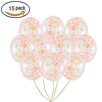 Globos de Confeti de oro Rosa, 12 Pulgadas Globos de oro Rosa Grande con Puntos