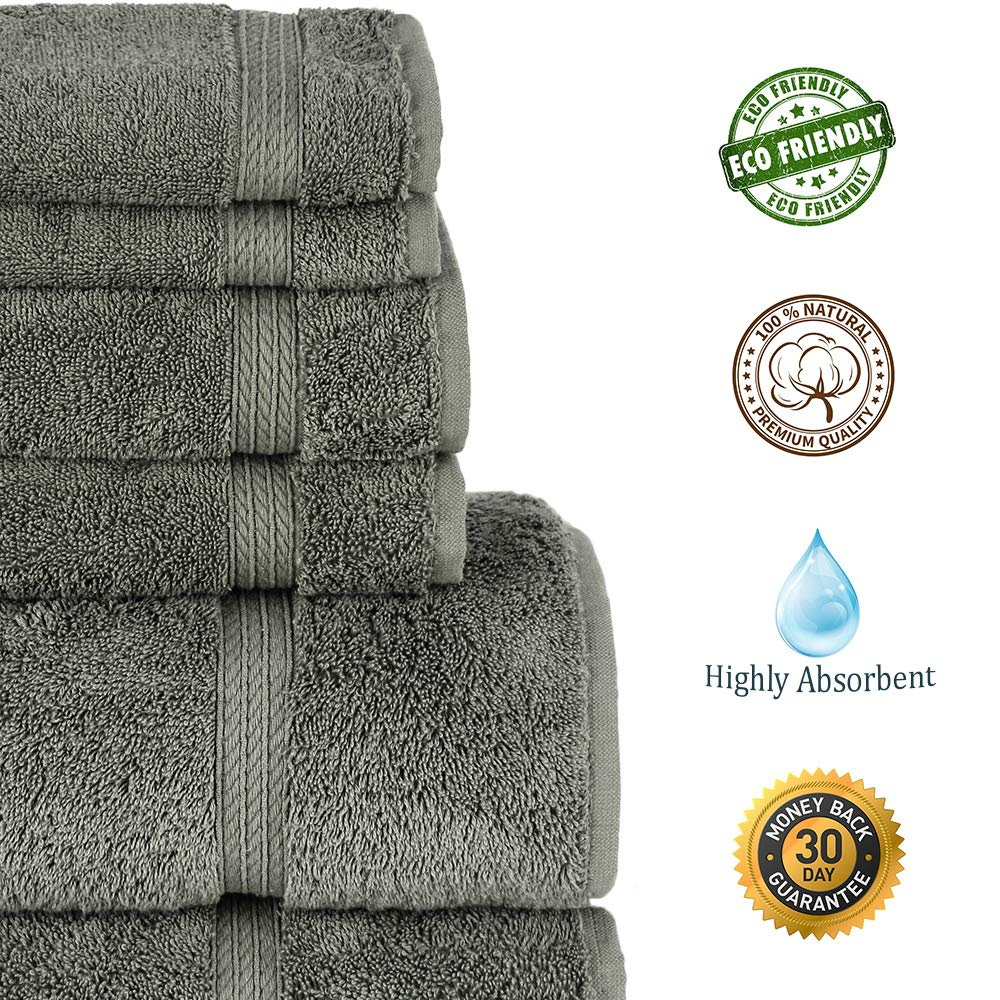 Premium Turkish Cotton 4-Striped Border Eco-Friendly and Long StableTowel Set of 6 Gray