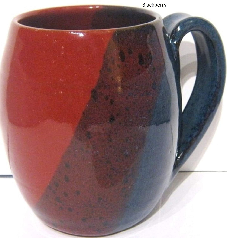 Handmade pottery coffee mug barrel shape ceramic cup