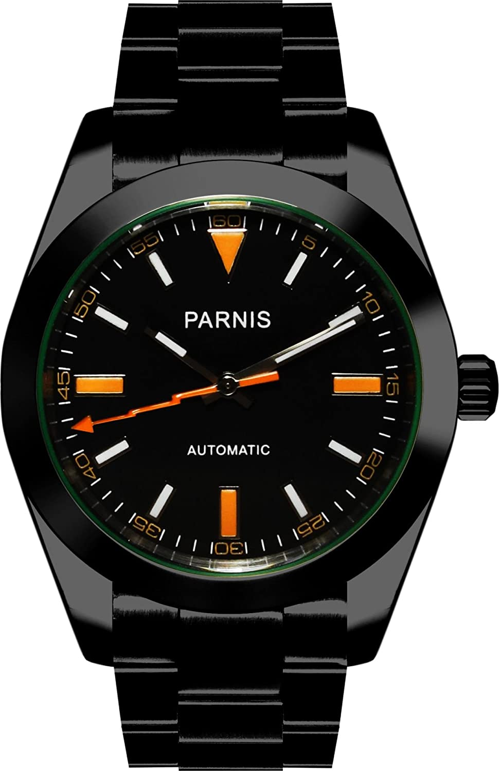 PARNIS Herren Automatikuhr 2097 PVD schwarz Saphirglas 5BAR massiv Edelstahl Indices in orange Ø39mm