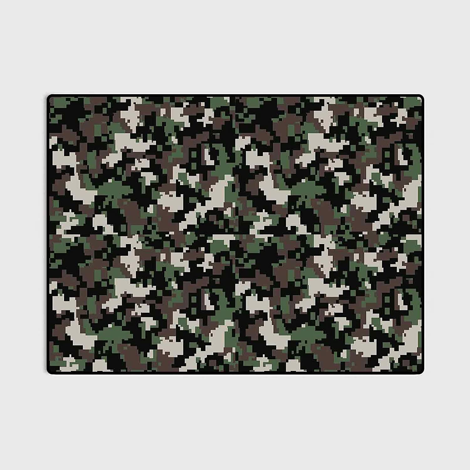 Camo Soft Area Rugs for Bedroom Girls Room Living Room Pixelated Pattern Digital Effect Modern Conceptual Camouflage Texture Floor mat for Office Chair Carpet Army Green Beige Brown 6 x 8.8 Ft