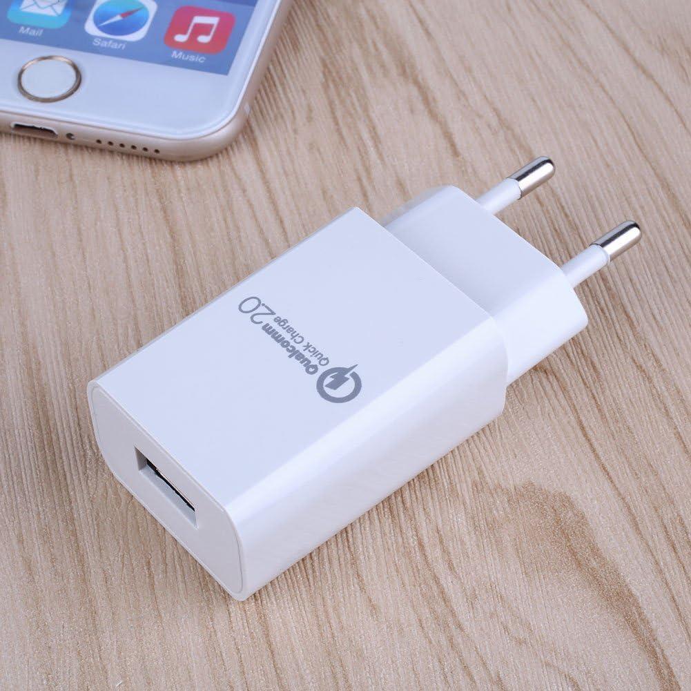 Cewaal Qualcomm Certified QC 2.0 USB Rapid Adaptateur pour chargeur mural Charge rapide pour la prise UE de voyage