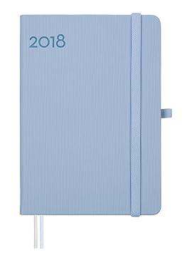 Finocam Textura - Agenda 2018, semana vista apaisada, español, 120 x 170 mm, 80 g/m², color azul