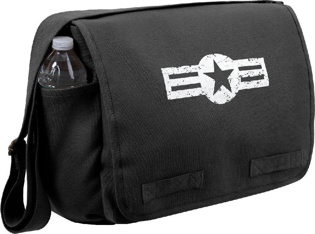 Heavyweight Canvas Classic Messenger Bag with US Air Corpエンブレム B07FCK3JG8 ブラック