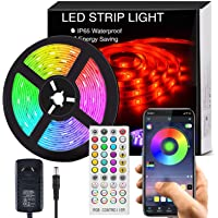 Bluetooth LED Strip Lights Music Sync, Waterproof 5m 5050 RGB 150 LEDs Light Strip with APP and Remote Control, Tape…