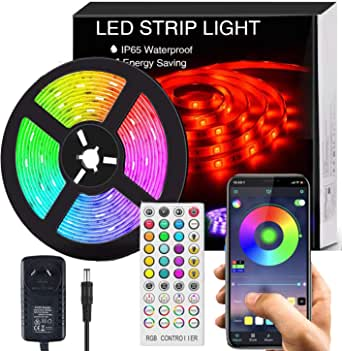 LED Strip Lights Music Sync, Color Changing LED Strips, 5m SMD 5050 LED Rope Light, App&Remote Controlled, Tape Light for Bedroom, Home and Kitchen