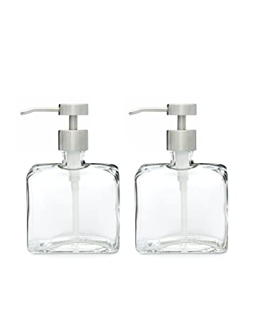 Amazon.com: Set Of Two Urban Glass Soap Dispensers With Fuente Stainless  Metal Pump   Fill And Refill This Pair Of Soap Dispensers With Your  Favorite Liquid ...