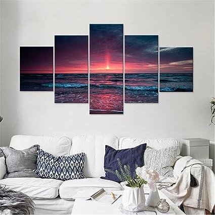 JAJUQH Pintura en tela, Cielo nocturno Seaside cuadros de pared de Salón Moderno de arte