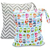 BESEGO 2pcs Baby Wet and Dry Cloth Diaper Bags, Nappy Organizer Bag with 2 Zippered Pockets