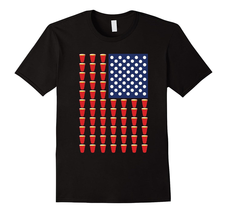 America Beer Pong USA Flag T-Shirt-Vaci