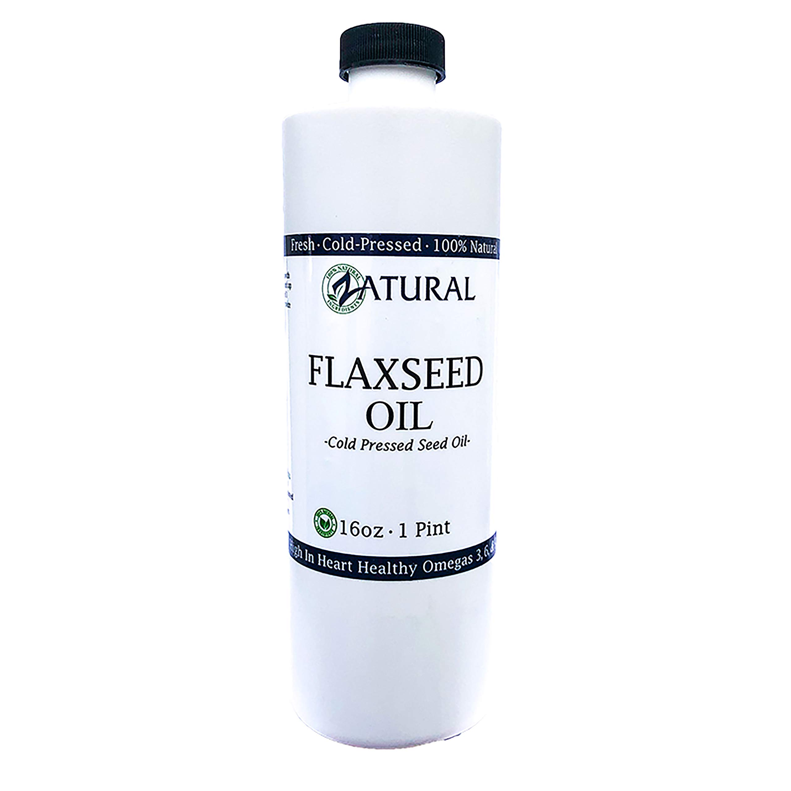 FlaxSeed Oil - 100% Pure Flax Seed Oil - 0 Additives - 0 Fillers - Cold Pressed - Unrefined (16 Ounce) by Zatural