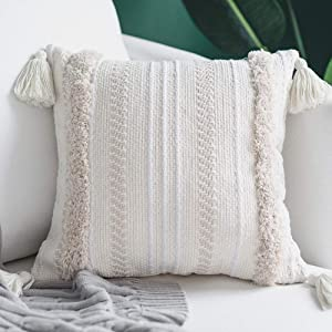 blue page Square Decorative Throw Pillow Covers for Couch Sofa Bedroom Living Room, Woven Tufted Boho Cushion Cover, Cute Cotton Pillow Cases with Tassels (18X18 inch, Cream)