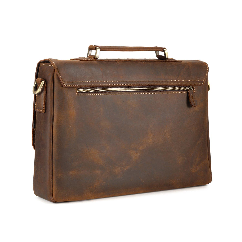 Kattee Men's Crazy Horse Leather Satchel Briefcase, 14'' Laptop Tote Bag by Kattee (Image #4)