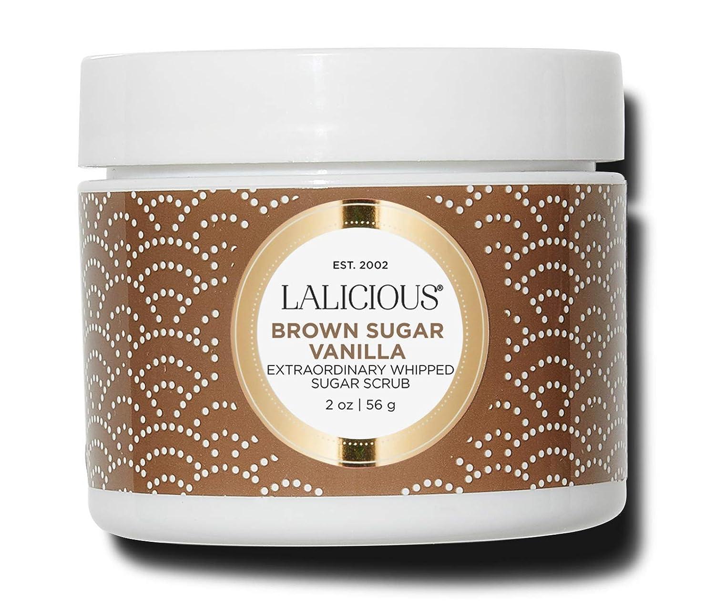 LALICIOUS Brown Sugar Vanilla Extraordinary Whipped Sugar Scrub - Cane Sugar Body Scrub with Coconut Oil & Honey, No Parabens (2 Ounces)