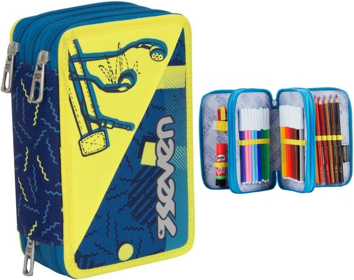 Seven – Estuche escolar para niño, de 3 cremalleras, colores amarillo y azul: Amazon.es: Deportes y aire libre