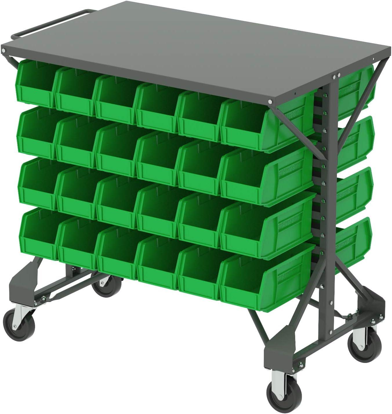 Akro-Mils 30812 Powder Coated Steel Mobile Bin Cart with Steel Worktop 38-1//2-Inch Wide by 24-Inch Deep by 36-1//2-Inch High