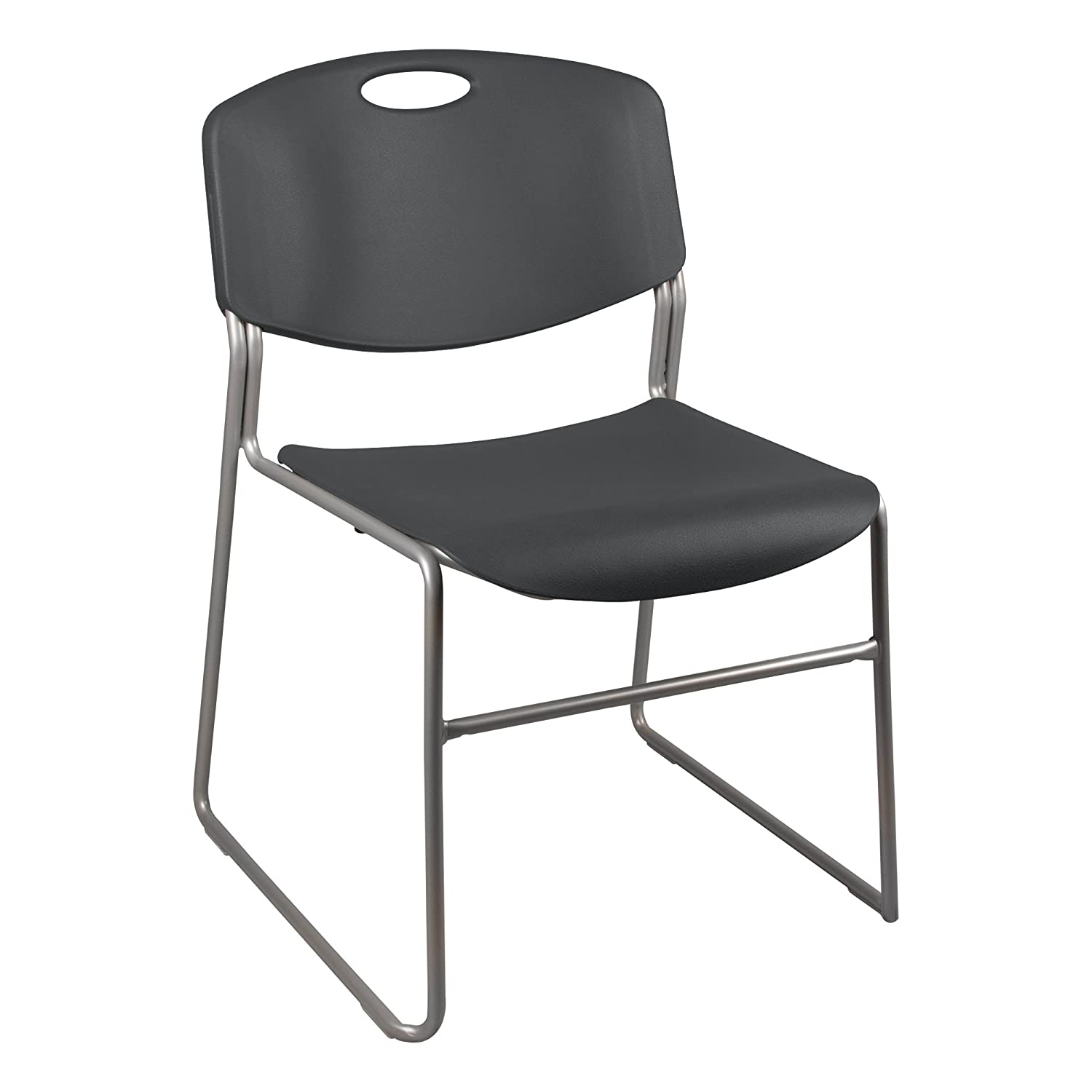 Norwood Commercial Furniture Heavy Duty Plastic Stacking Chair, Charcoal Seat w/ Silver Frame, NOR-FEI1059CH-SO (Pack of 4)