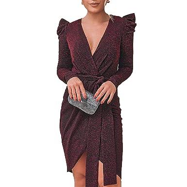 708d8001da225 GDFV86D Ruched Shoulder Shinny wrap Dress Women Long Sleeve Dresses ...
