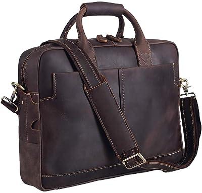 Texbo Genuine Full Grain Leather Men's 16 Inch Laptop Briefcase Messenger Bag Tote