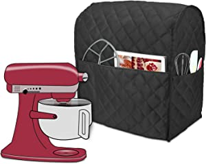 Luxja Dust Cover Compatible with 6-8 Quart KitchenAid Mixers, Cloth Cover with Pockets for KitchenAid Mixers and Extra Accessories, Black (Quilted Fabric)