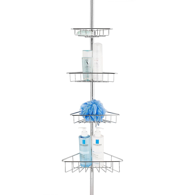 AMG and Enchante Accessories, Corner Tension Adjustable Bathroom Storage Shower Caddy, CC100003 CHR, Chrome