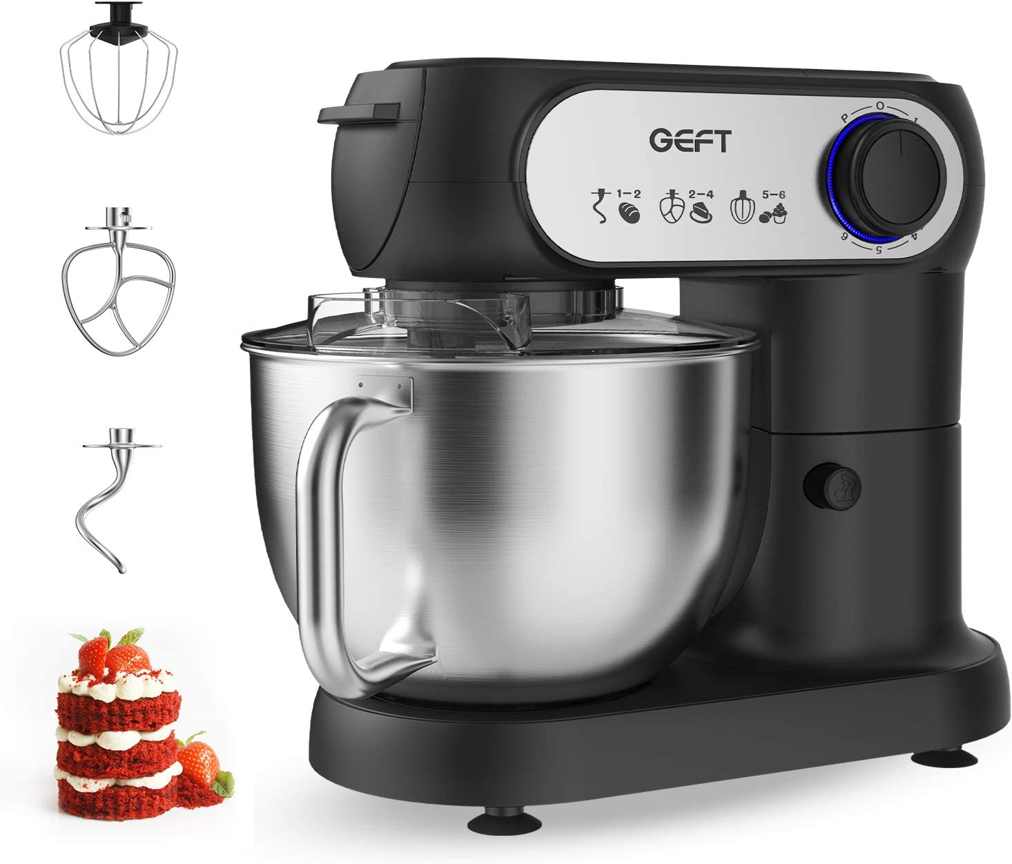 Stand Mixer- GEFT 6-Speed Electric Food Mixer with 5.8QT Stainless Steel Mixing Bowl, Kitchen Mixer with 600W Motor, Dough Hook, Mixing Beater, Wire Whisk, Splash Guard, Tilt-Head, Onyx Black