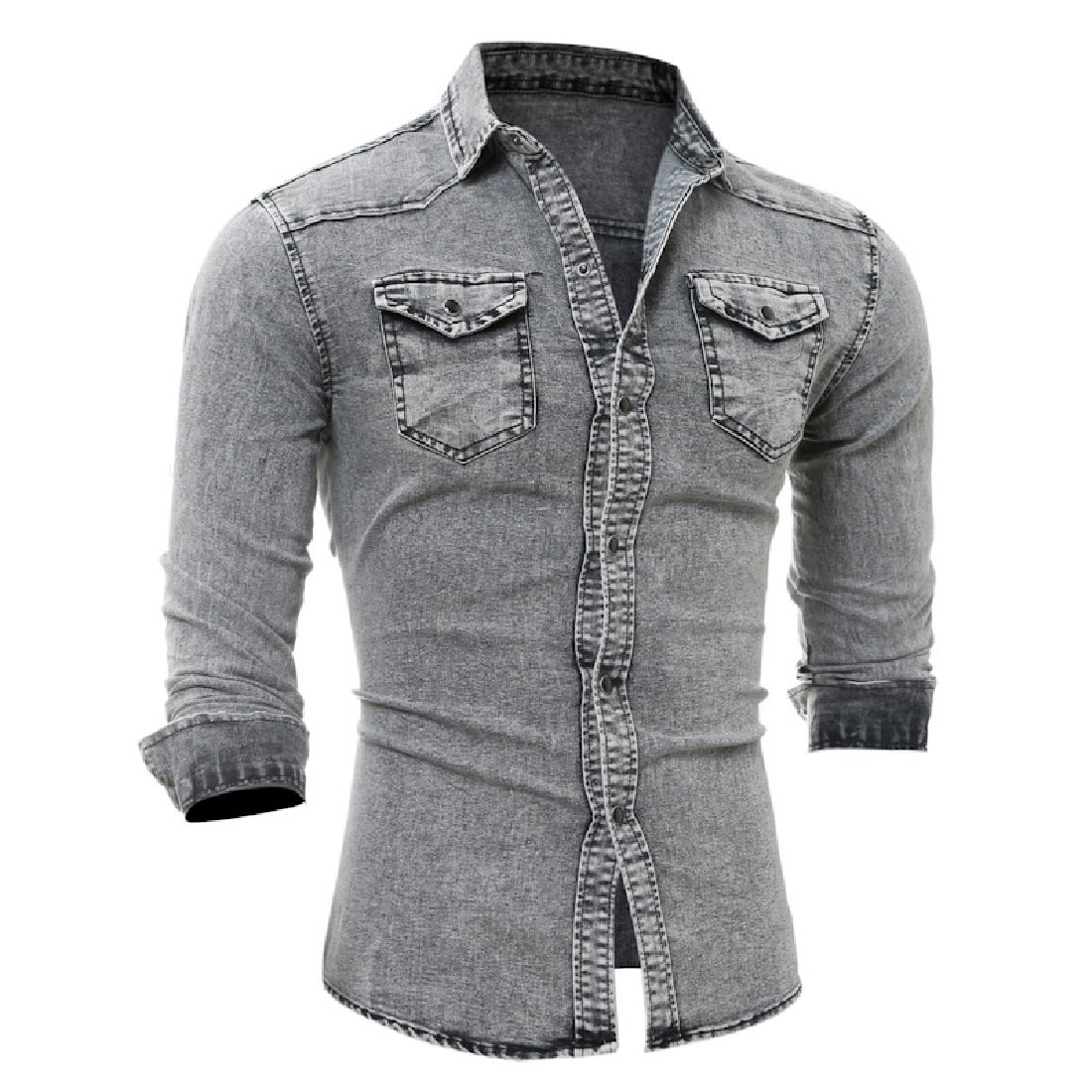 YUNY Mens Turndown Collar Denim Business Long Sleeve Pocket Caftan Casual Shirt Light Grey S