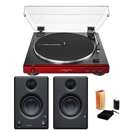 Audio-Technica AT-LP60X Tocadiscos (Rojo) con monitores y Kit de ...