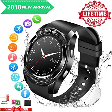 SmartWatch uomo android ios con Macchina Fotografica,Bluetooth Smart Watch Touchscreen , Orologio Intelligente,Watch Phone with Sim Card Per Android ...