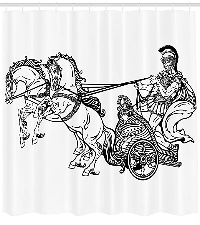 Toga Party Shower Curtain By Ambesonne Roman Warrior In A Chariot